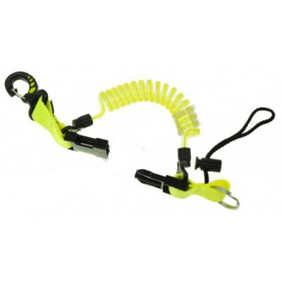 Retractor spring with plastic snap-hook yellow